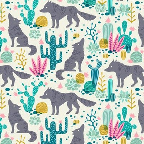 Wolf in the cactus desert teal/pink (small)