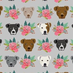 pitbull floral head design pitbulls fabric floral dog head