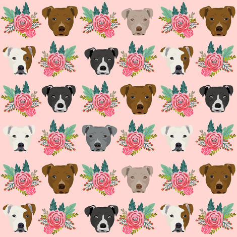 pitbull floral head design pitbulls fabric floral dog head fabric by petfriendly on Spoonflower - custom fabric