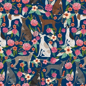 italian greyhound florals fabric best dogs and flowers design - navy