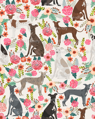 italian greyhound florals fabric best dogs and flowers design - off-white