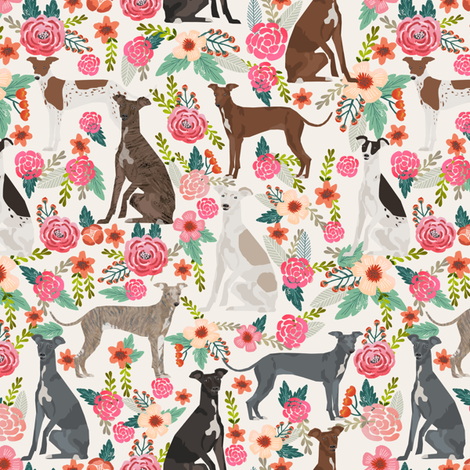 italian greyhound florals fabric best dogs and flowers design - off-white fabric by petfriendly on Spoonflower - custom fabric