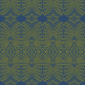 Apider Web (Mustard on Deep Blue)