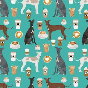 italian greyhounds and coffees fabric - latte, coffee, espresso coffee illustration