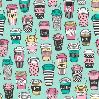 Coffee Latte Geometric Patterned Black & White Pink Mint Yellow on Mint Green