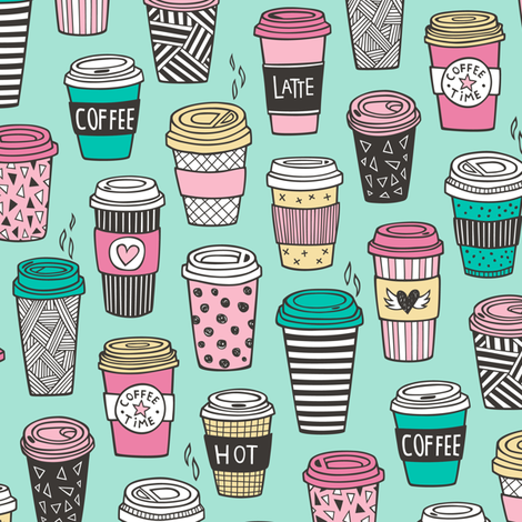 Coffee Latte Geometric Patterned Black & White Pink Mint Yellow on Mint Green fabric by caja_design on Spoonflower - custom fabric
