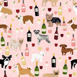 dogs and wine fabric - red wine, white wine, rose, champagne bubbly dogs fabric