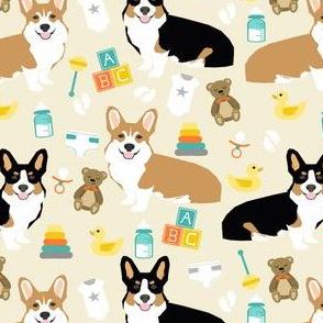 corgis and babies fabric - corgi baby nursery cute dogs fabric illustration