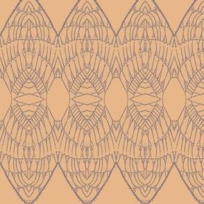 Lace Shield (Purple on Apricot)