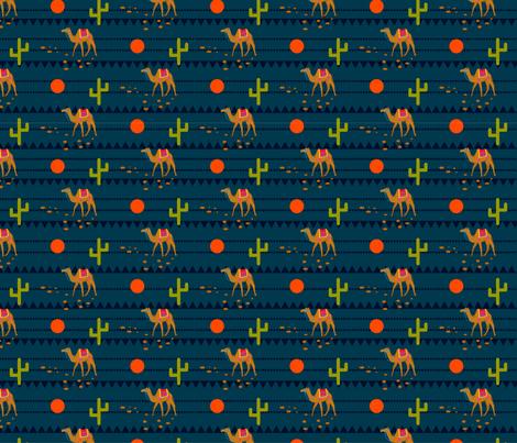 Camel in night desert fabric by yopixart on Spoonflower - custom fabric