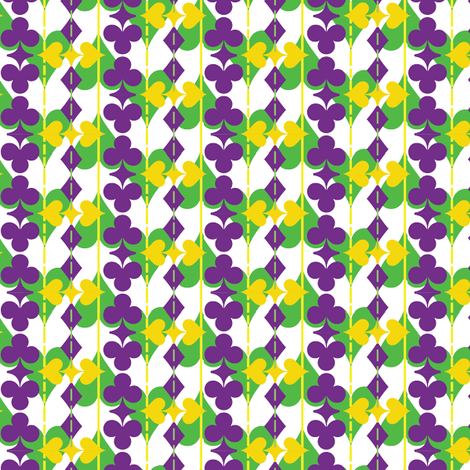 Suit of Cards in Mardi Gras Colors on White fabric by kelaniarts on Spoonflower - custom fabric