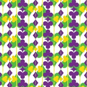 Suit of Cards in Mardi Gras Colors on White