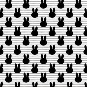 "bunny on stripes (1"" scale)     monochrome"
