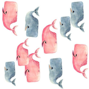 Whale Pod in Blue and Pink - Rotated