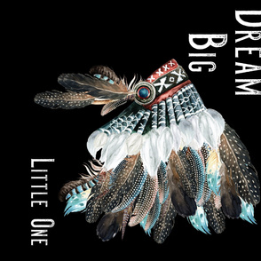 Dream Big Little One 90 Degrees Headdress Blue / White / Red - BLACK BACKGROUND
