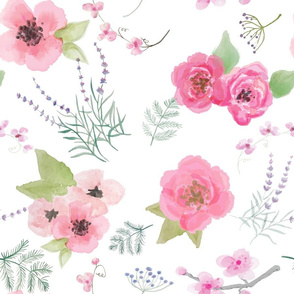 Watercolor Floral White Ground