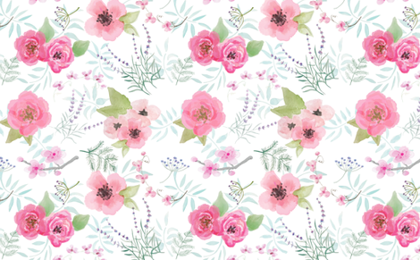 Watercolor Floral with Ferns fabric by danika_herrick on Spoonflower - custom fabric