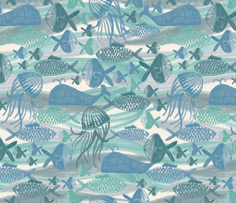 UnderTheSea fabric by christinelynnjohansen on Spoonflower - custom fabric