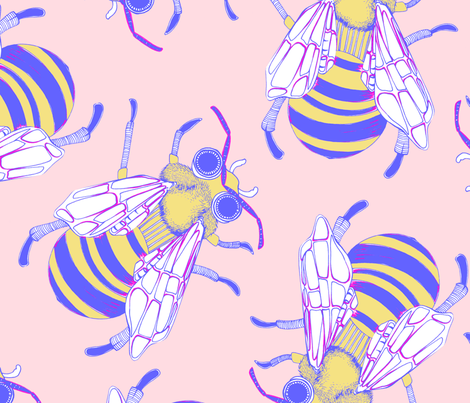 Giant Bee in Peach fabric by robynie on Spoonflower - custom fabric