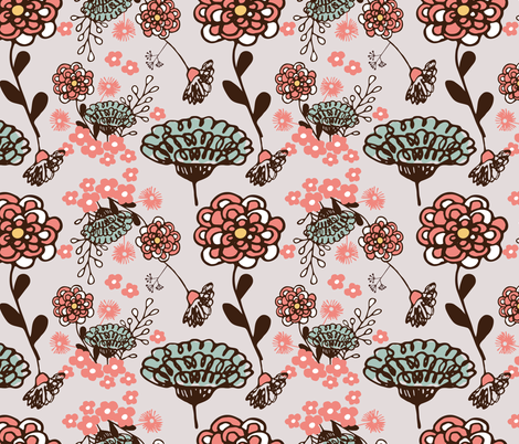 Spring Floral on Fog fabric by sara_gerrard on Spoonflower - custom fabric