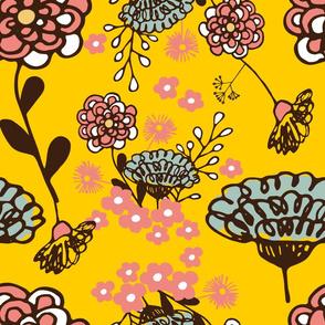 Spring floral on mustard