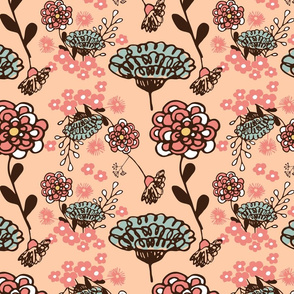 Spring Floral on peach