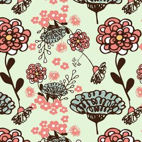 Spring floral on mint