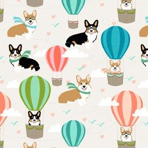 corgi hot air balloon tri colored and red corgis cute corgi fabric