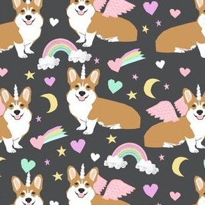 corgi unicorn pastel fabric cute corgi illustration design - charcoal