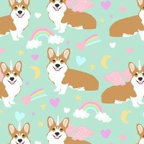 corgi unicorn pastel fabric cute corgi illustration design - mint