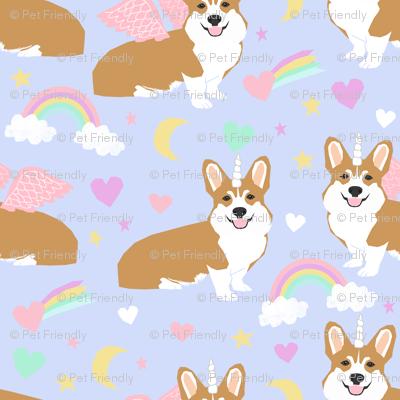 corgi unicorn pastel fabric cute corgi illustration design - purple