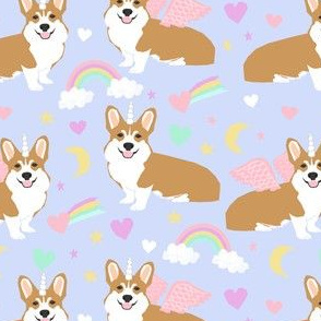 corgi unicorn pastel fabric cute corgi illustration design - purple
