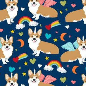 corgi unicorn pastel fabric cute corgi illustration design - navy