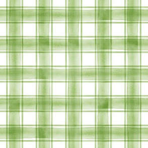 watercolor plaid || greenery double