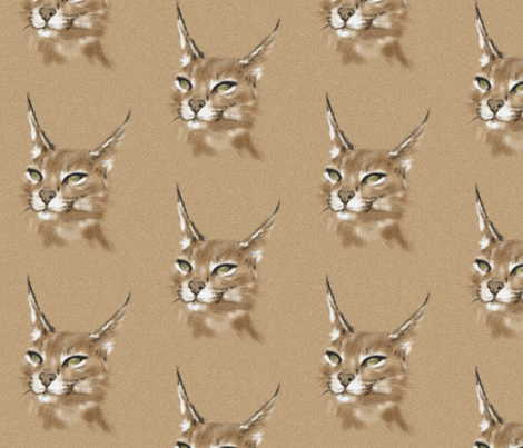 Caracal in Sand fabric by sugarpinedesign on Spoonflower - custom fabric