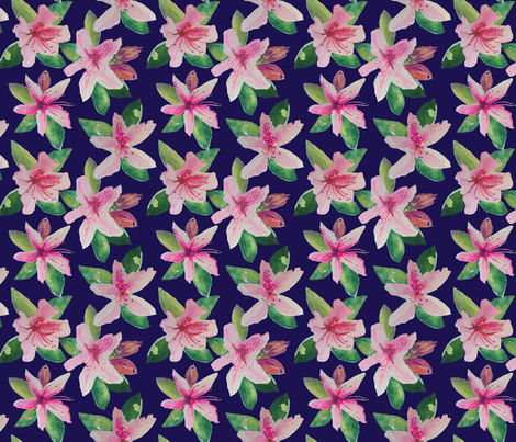 Azeleas Navy (MEDIUM) fabric by theartwerks on Spoonflower - custom fabric