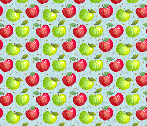 Fresh Apples - Light - Blue fabric by samalah on Spoonflower - custom fabric