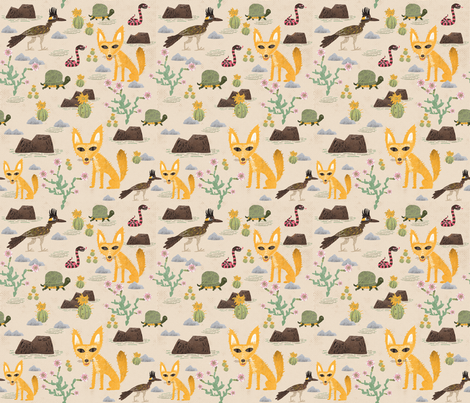 Desert creatures fabric by skbird on Spoonflower - custom fabric