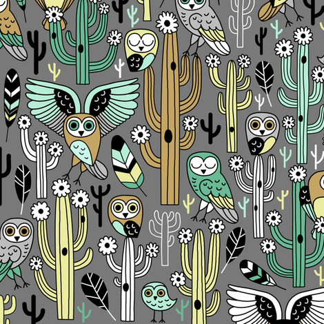 desert owls - medium gray // updated fabric by mirabelleprint on Spoonflower - custom fabric