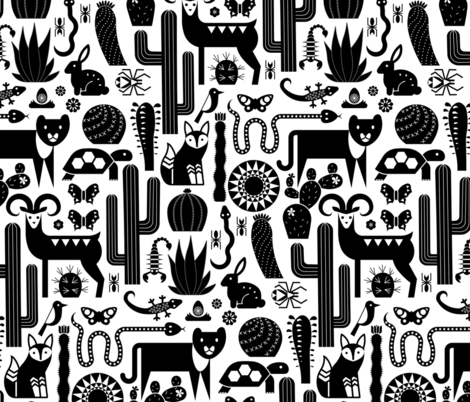 desert friends (black) fabric by analinea on Spoonflower - custom fabric
