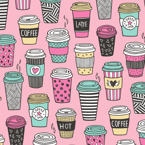 Coffee Latte Geometric Patterned Black & White Pink Mint Yellow on Pink fabric by caja_design on Spoonflower - custom fabric