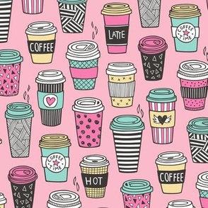 Coffee Latte Geometric Patterned Black & White Pink Mint Yellow on Pink
