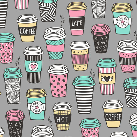 Coffee Latte Geometric Patterned Black & White Pink Mint Yellow on Grey fabric by caja_design on Spoonflower - custom fabric