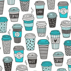 Coffee Latte Geometric Patterned Black & White Blue
