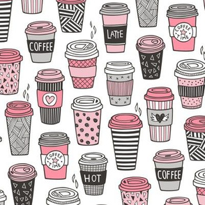 Coffee Latte Geometric Patterned Black & White Pink