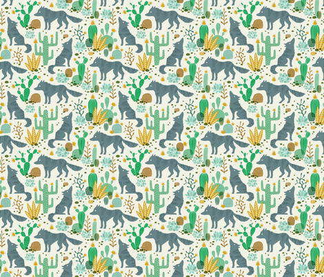 Wolf in the cactus desert green/mustard (small) fabric by heleen_vd_thillart on Spoonflower - custom fabric