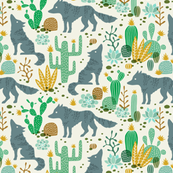 Wolf in the cactus desert green/brown (small)