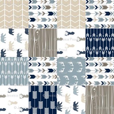 Rustic Woods Woodland Patchwork Cheater quilt (90) - bear and buck linen
