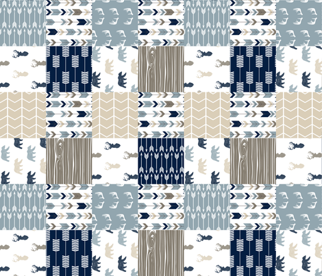 Rustic Woods Woodland Patchwork Cheater quilt (90) - bear and buck linen  fabric by littlearrowdesign on Spoonflower - custom fabric