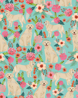 Golden Retriever Dog Fabric Cute Floral Dogs Design Small